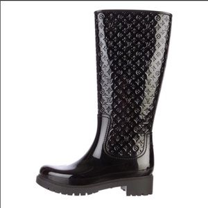 Louis Vuitton rare black rain boots rare